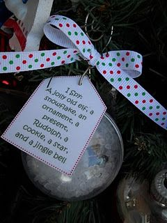 Here's what you need to put one of these together:  Plastic Center-splitting ornament  Plastic Filler Pellets  8-10 Miniature Christmas Items  Ribbon  Paper Tag    **All of these things can be found at most craft stores-even Wal-mart!**