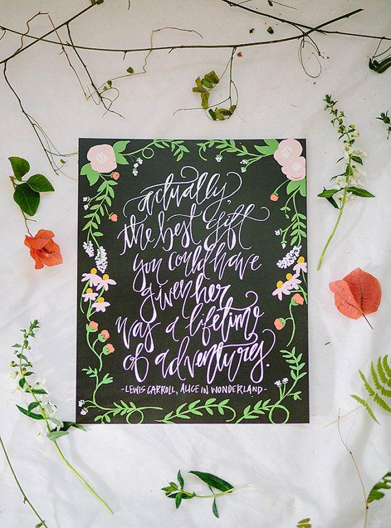 Calligraphy Art Print - Life of Adventure - Alice In Wonderland Quote - 8 x 10 // Shannon Kirsten