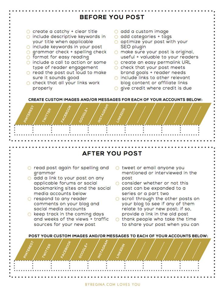 Before You Post Checklist for Your Blog + After You Post Checklist