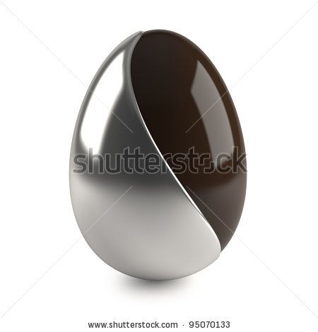 chocolate easter egg with silver decoration on white background - stock photo