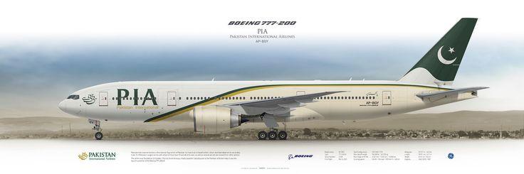 Boeing 777-200LR Pakistan International Airlines AP-BGY   www.aviaposter.com   #airliners #aviation #jetliner #airplane #pilot #airline #aviationlovers #avgeek #jet #passenger #boeing #b777 #PIA