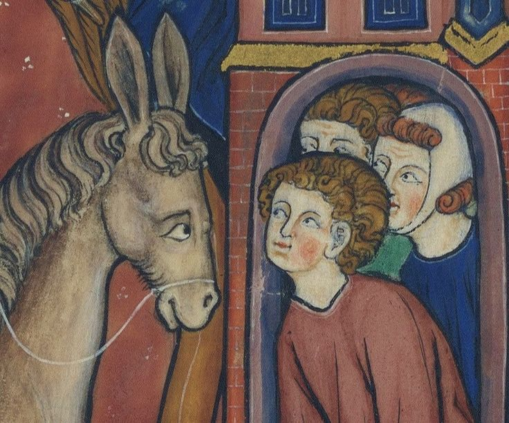 """gentlewave: """"'Livre d'images de madame Marie', Hainaut or Brabant ca. 1280-1290, Nouvelle acquisition française 16251, fol. 29r Palm Sunday, source: bjws.blogspot.com. """""""