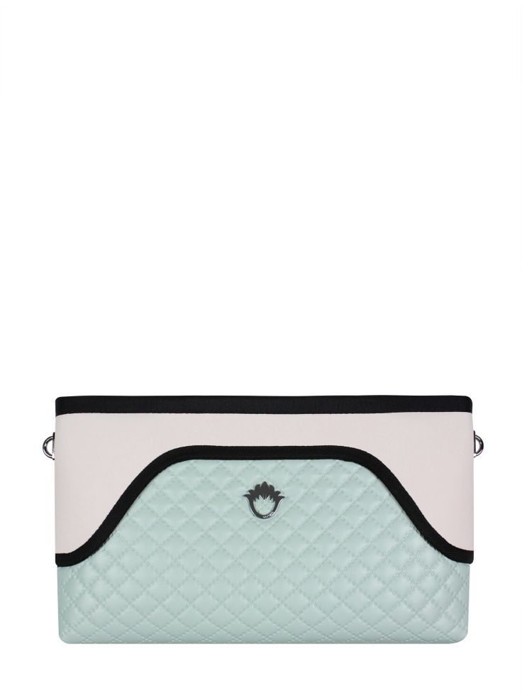 GOSHICO, ss2015, Flowerbag (clutch with belt), pastel mint + pastel pink. To download high or low resolution photos view Mondrianista.com (editorial use only).