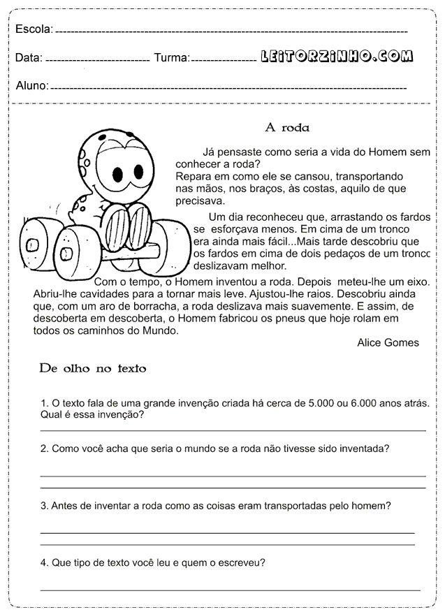 Leitores: Atividades de português 4° ano interpretação de texto