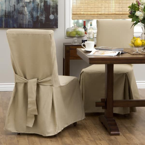 classic slipcovers cotton duck parsons chair slipcover pair khaki