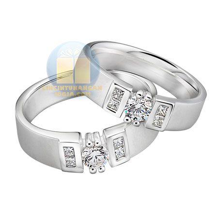 Cincin Kawin Verona Perak Lapis Emas Putih | CincinKawinKufah.com
