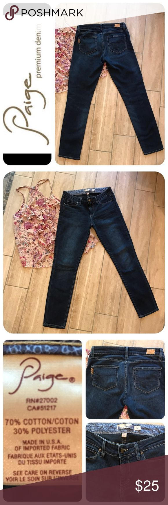 "🔥SALE!!🦋Paige Skyline Skinny Ankle Jeans 🦋 Everyone needs a pair of these in their closet! Dark wash with slight whiskering, stretch, 8"" rise and 29"" inseam. Smooth profile for wearing with a flowy tank or a fitted T...finish the look with some fringed booties and you're ready to go 😊. Very gentle pre-loved condition. 🦋No trades or lowball offers, please. Paige Jeans Jeans Skinny"