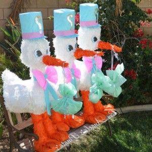 Cute stork parade outdoor baby shower decor baby shower for Baby shower stork decoration