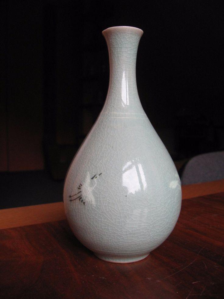 Gyönyörű szeladonmázas váza (jelzett) - Kerámia | Galéria Savaria online piactér - Antik, műtárgy, régiség vásárlás és eladás