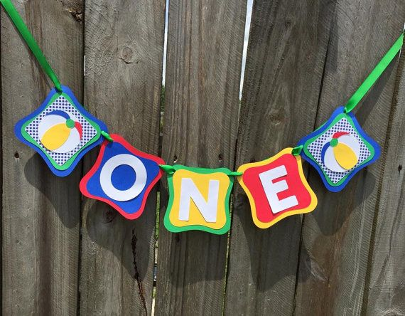ONE Beach Ball bannerBaby Birthday Banner by CelebrateCustomEvent