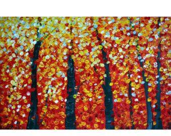 ORIGINAL 72 pintura moderna gran árbol colorido por LUIZAVIZOLI