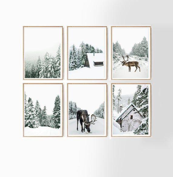 Reindeer and Log Cabin Set of 6 Scandi Christmas Print Holiday Decor Nordic Decor of Pine Tree Forest Winter Printable Wall Art