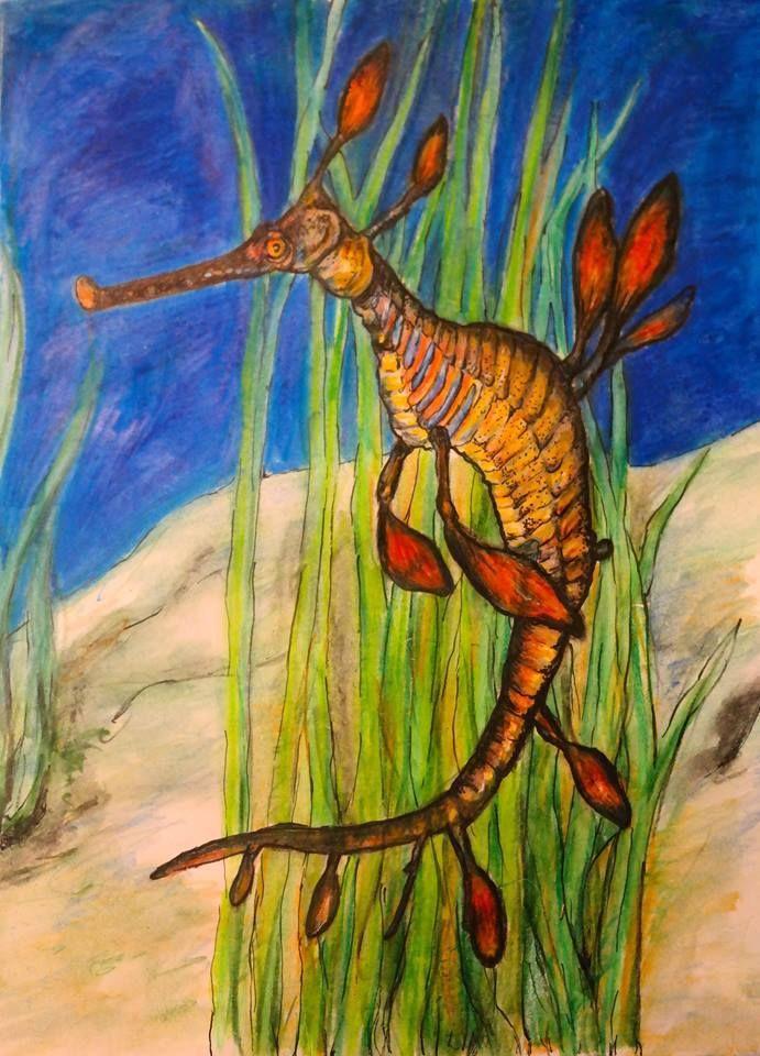 Guache painting of Weedy Sea dragon.