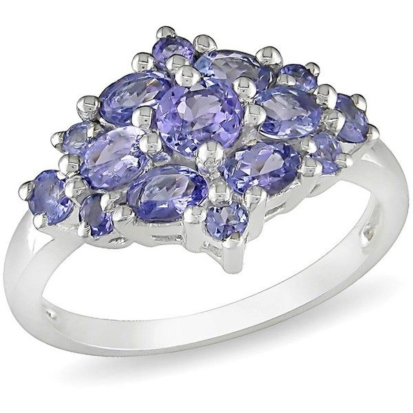 Fine Jewelry Womens Purple Tanzanite Sterling Silver Cluster Ring UXgEvJ