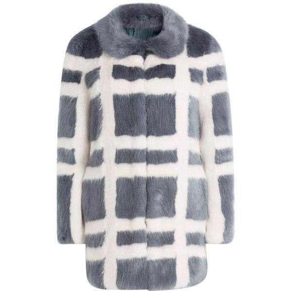 Shrimps Plaid Faux Fur Coat (£790) ❤ liked on Polyvore featuring outerwear, coats, stripes, stripe coat, white coat, grey oversized coat, gray faux fur coat and fake fur coat