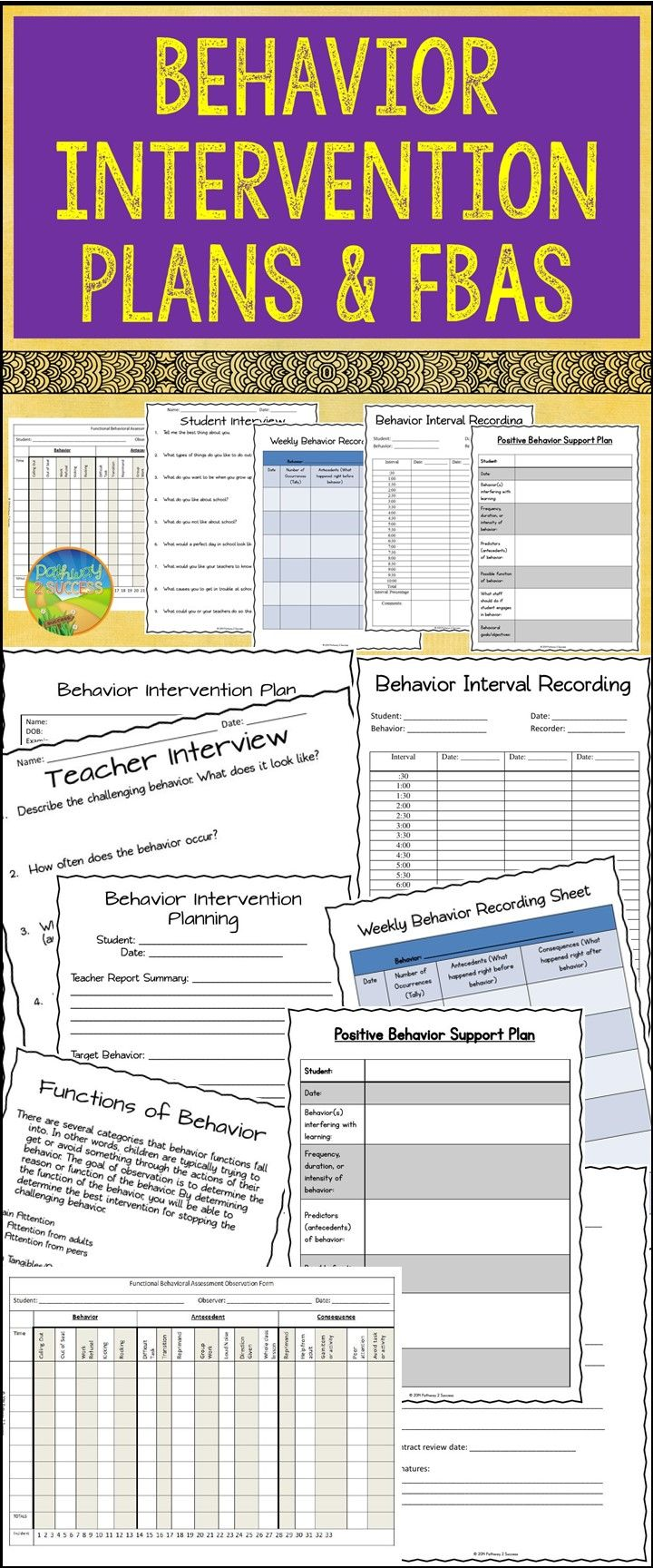 Behavior intervention plans, functional behavior assessments, and more