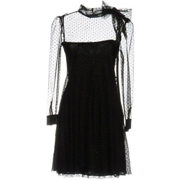 Redvalentino Short Dress (4.877.680 IDR) ❤ liked on Polyvore featuring dresses, black, long sleeve mini dress, glitter mini dress, long-sleeve mini dresses, slip dresses and long sleeve glitter dress