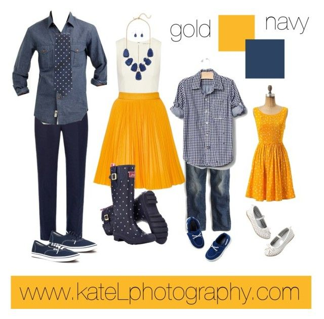 Gold + Navy family outfit inspiration: what to wear for a family photo session in the spring or summer. Created by Kate Lemmon, www.kateLphotography.com