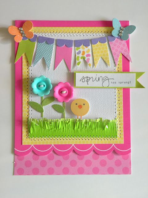 Love the banner detail and colors!: Cards Ideas, Buttons Flowers, Easter Cards, Greeting Cards, Springcard, Scrapbook Pages, Doodlebug Design, Bright Colors, Spring Cards