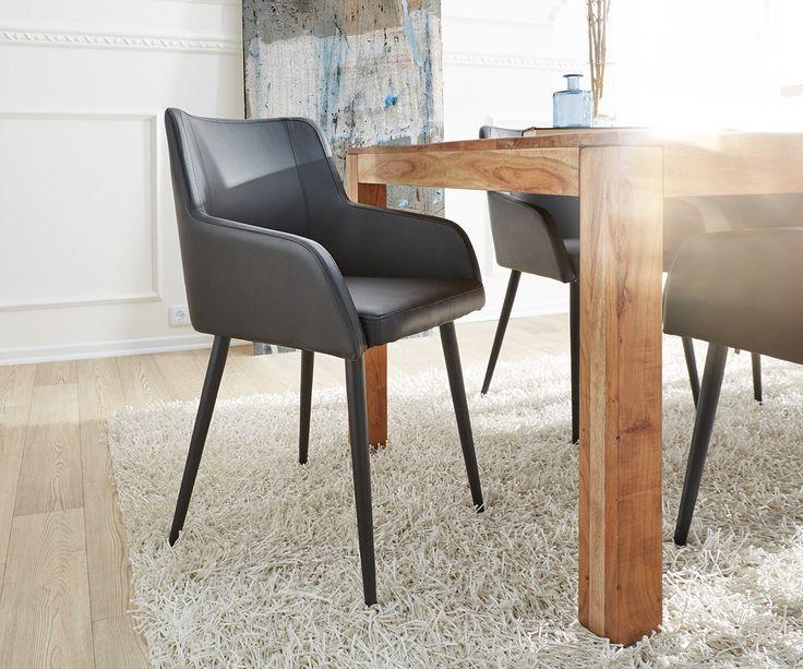 delife k chenstuhl volcan beine metall schwarz mit armlehnen esszimmerstuhl esszimmerst hle. Black Bedroom Furniture Sets. Home Design Ideas