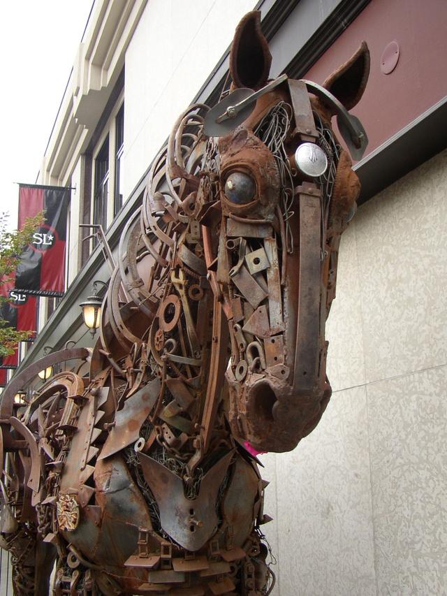 Scrap Metal Work Horse Sculpture Old Tractor Parts