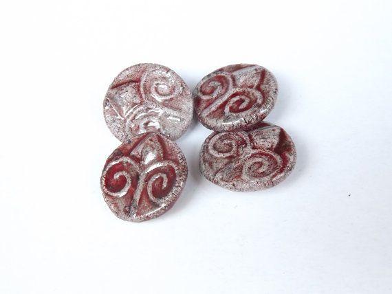4 Ceramic buttons 20mm / 08  round button raku by BlueBirdyDesign, €8.00