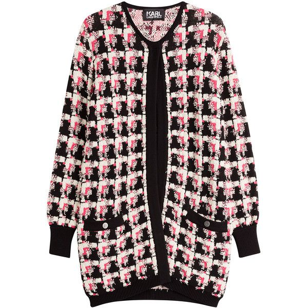 Karl Lagerfeld Chunky Knit Cardigan (£270) ❤ liked on Polyvore featuring tops, cardigans, outerwear, multicolor, colorful tops, pocket cardigan, houndstooth cardigan, thick knit cardigan and oversized tops