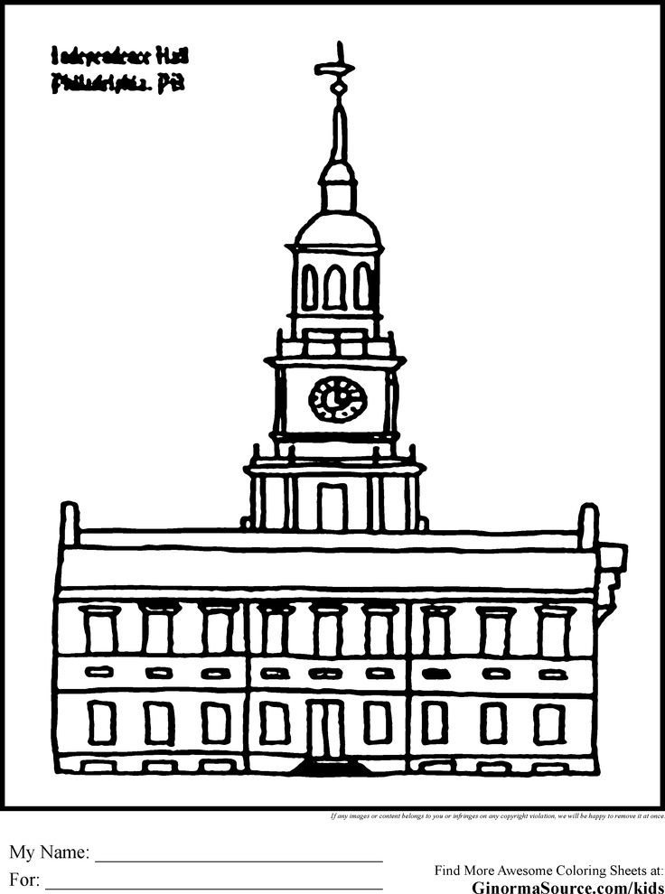 Independence Hall Page Coloring Pages