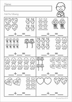 Kindergarten Valentine's Day Math and Literacy Worksheets & Activities No Prep. A page from the unit: addition to 10