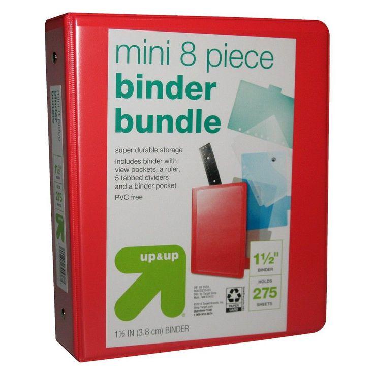 """Mini 1.5 3 Ring Binder Bundle, 8 Piece Set, 5.5"""" X 8.5"""