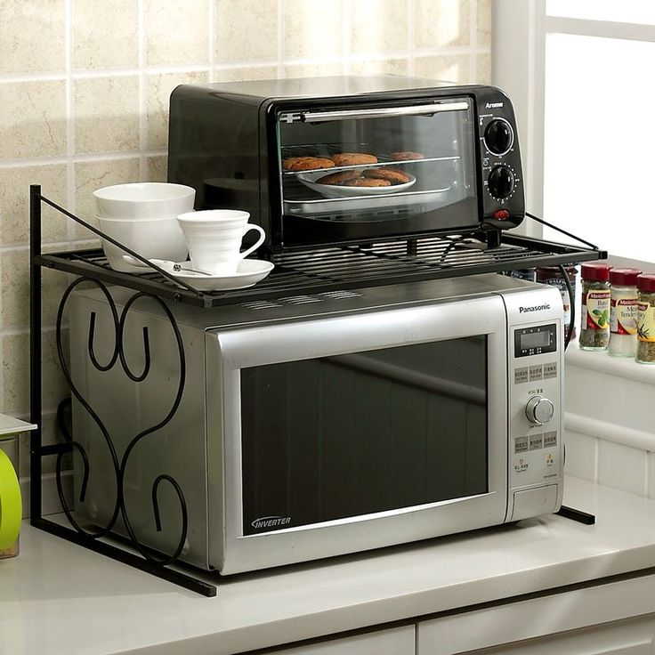 Furniture Black Wrought Iron Microwave Wall Shelf In The Corner Small Es Kitchen Ideas