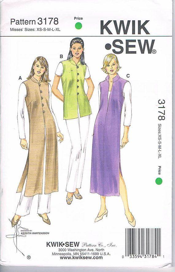 Kwik Sew 3178 Misses' Vests & Jumper in 2 Lengths Sizes
