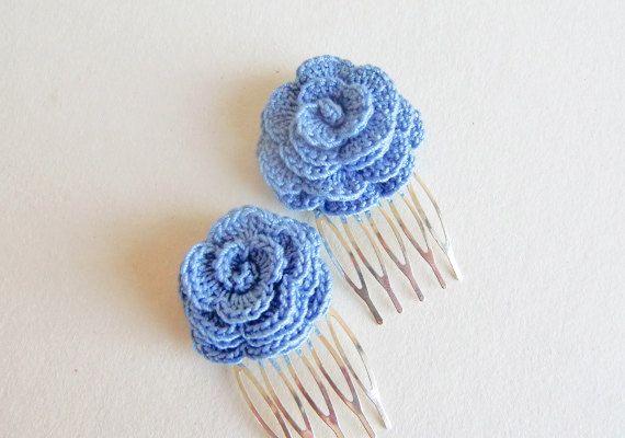 Blue Rose Hair Combs, Set of 2 Mini Hair Combs. Autumn Hair Clip, Fall Hair Clip. Hair Accessory Crochet Rose Hair Comb.