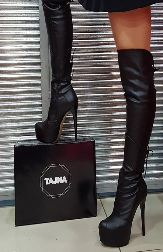 Black Knee High Pencil Heel Boots in 2019  2e445abcd518
