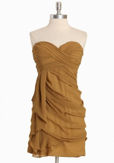 would wear this to the Edison in LA :): Strapless Dresses, Gold Dresses, Mustard Colors Dresses, Sweetheart Dresses, Strapless Bridesmaid Dresses, Sweetheart Chiffon, The Dresses, Chiffon Dresses, The Roller Coasters