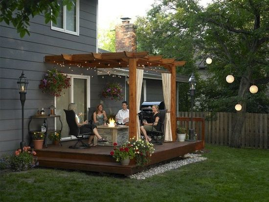 Deck Pergola with Curtains