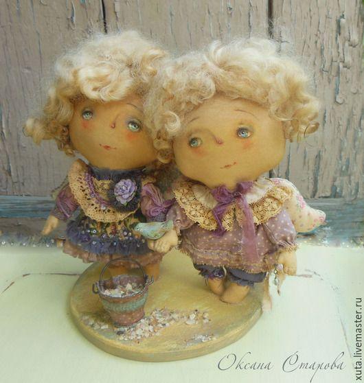 Коллекционные куклы ручной работы. Ярмарка Мастеров - ручная работа. Купить Ангелы в песочнице.... Handmade. Сиреневый, птичка, мальчик и девочка