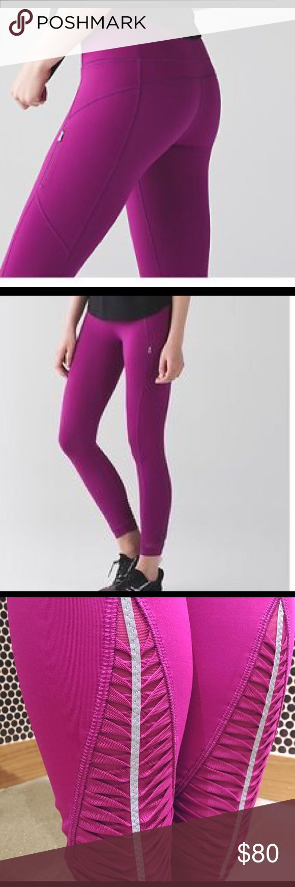 Lululemon Making Moves Tights in Plum - NWOT Basics: New without tags - 7/8 length leggings with zippered pockets and reflective material on the back for any evening jogging - size 2  Materials: Full-on Luxtreme lycra   Gorgeous plum-colored 7/8 lengths leggings from Lululemon. Bought these on final sale online, but they're too small for me :(   They run true to size but I bought them in a delusional moment of thinking I could fit a size 2 after one week of barre workouts lululemon athletica…
