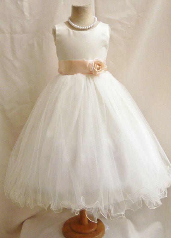 Flower Girl Dress IVORY/Peach FL Wedding Children Easter Bridesmaid Communion Peach Orange Burnt Lilac Guava Green Sage Green Olive Gold on Etsy, $34.99