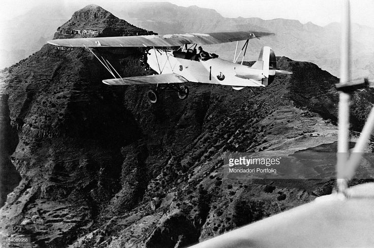 An aircraft of the Italian army flying over the mountain of Amba Alagi during…
