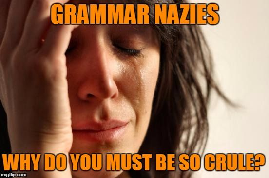 A little kindness goes along way | GRAMMAR NAZIES WHY DO YOU MUST BE SO CRULE? | image tagged in memes,first world problems,grammar,grammar nazi,imgflip,spelling | made w/ Imgflip meme maker
