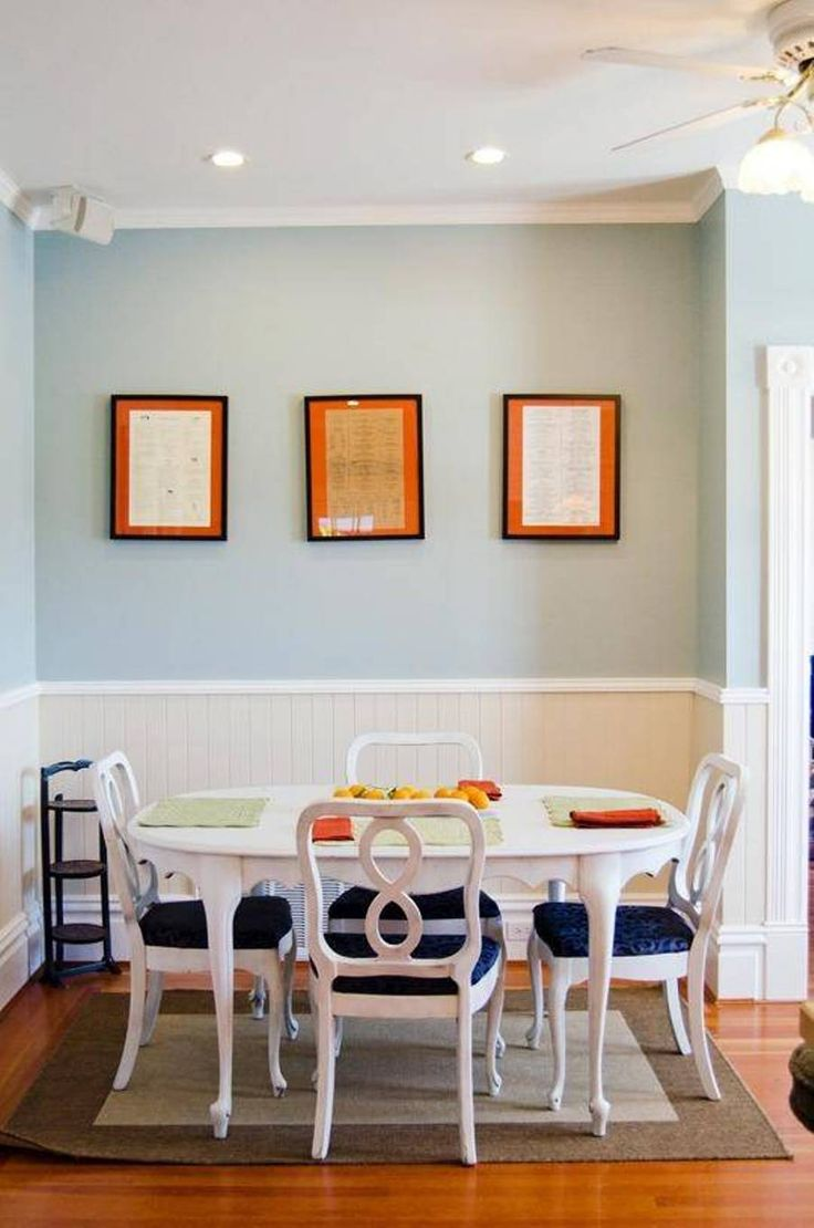 Dining Room , Dining Room Wainscoting Ideas : Dining Room Wainscoting Wood Paneling With Turquoise Walls And White Furniture