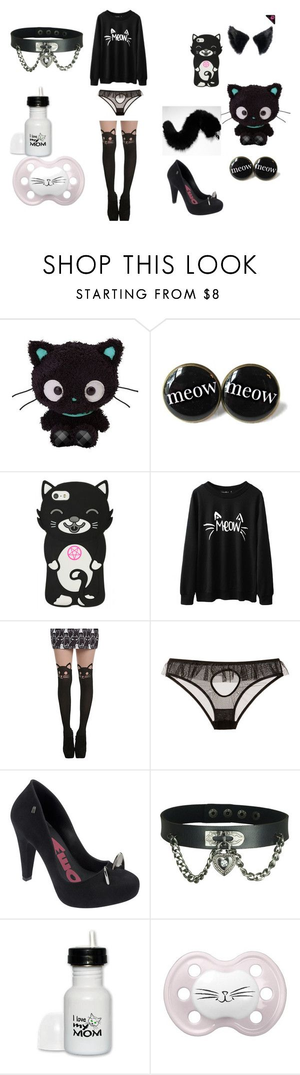 """""""Black Kittenplay Little Space Outfit"""" by nina-fluffin-radke ❤ liked on Polyvore featuring Le Petite Trou and Melissa"""