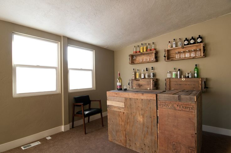 Good Looking Wood Pallet Furniture convention Salt Lake City Eclectic Wine Cellar Decorators with alcohol alcohol bottles beige wall carpet home bar homemade bar leather side chair reclaimed
