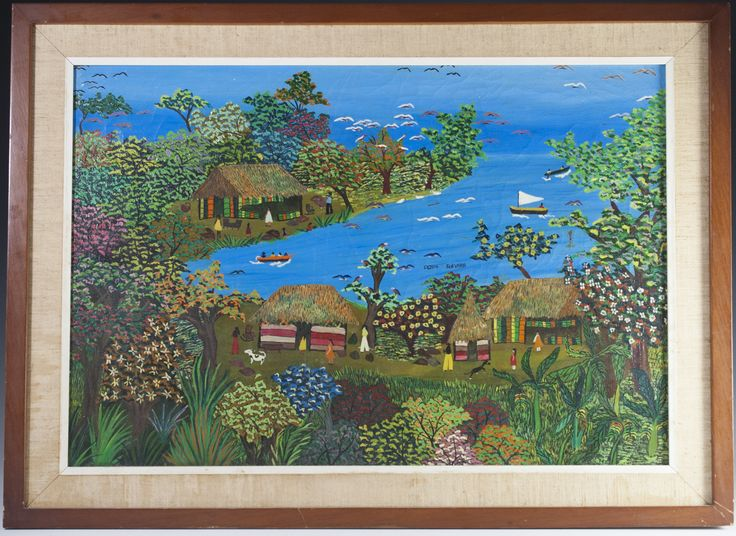 """DESCRIPTION: Oil on panel painting by Nicaraugan artist Gloria Guevara depicting the Solentiname Islands of Nicaragua. Features a vibrantly hued rendering of a harbour with boats sailing in, flanked with rustic villiages and figures interacting with one another. Finished with a deep blue sly subtely split from the horizion. Set in a wood frame and signed:""""Gloria Guevara"""". CIRCA: 20th Ct. ORIGIN: Nicaragua DIMENSIONS:With Frame: H:19"""" L:26"""" Without Frame: H:15.5"""" L:21.5"""" CONDITION: Great…"""