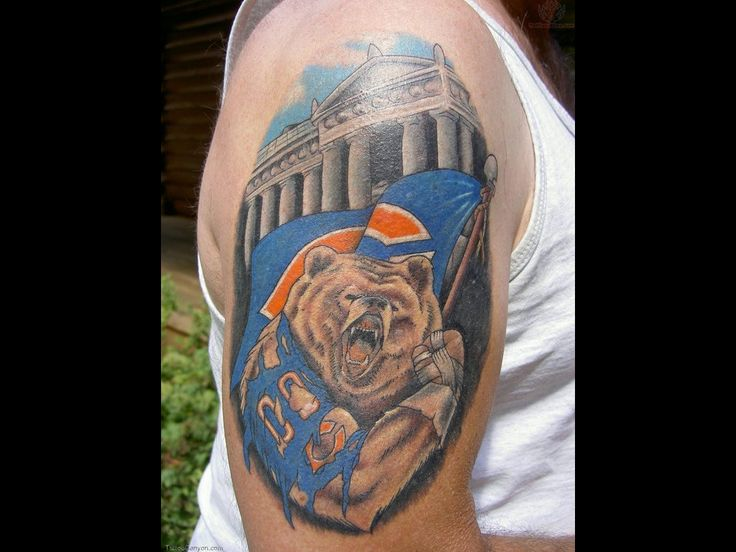 chicago bears tattoos | Left Back Shoulder Chicago Bears Tattoo Picture #741