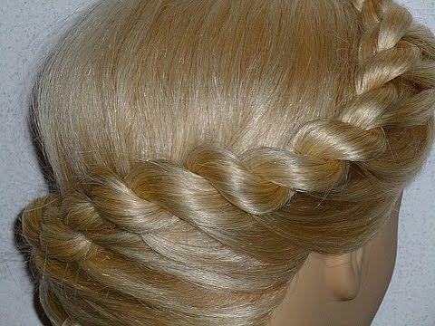 Причёски с плетением- Причёска для средних, длинных волос.Плетение косички жгут вокруг головы - YouTube