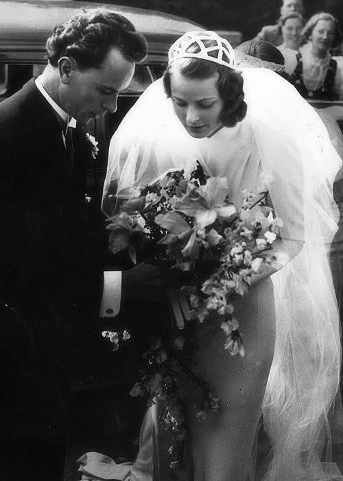Actress Ingrid Bergman, 21, with her first husband, Dr. Petter Lindström, at their wedding in 1937.  They divorced after her affair with Italian director Roberto Rossellini during the filming of Stromboli in 1950. The same month the film was released she gave birth to a boy, Robertino Rossellini (born 2/2/1950). A week after her son was born she divorced Dr. Lindström and married Rossellini in Mexico 5/24/50. In 1952 the couple had twin daughters. They divorced in 1957.