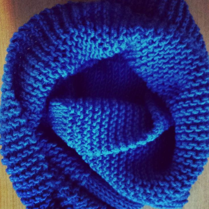 11th Infinity Scarf #lionswool #knitting #garterstitch #stockinettestitch in#royal #blue #accessory for #winter #January
