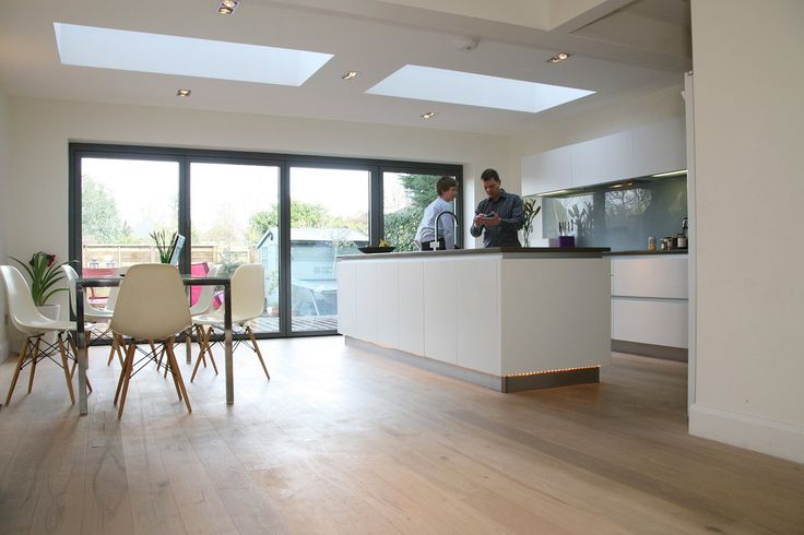 House Extension Ideas & Designs | House Extension Photo Gallery | Single storey kitchen extension with rooflights and bi-folding doors.